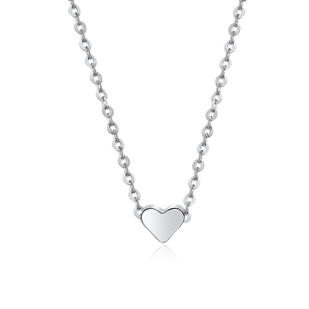 Silver Color Gold Color Heart Necklace For Men Women Simple Short Link Chain Love Pendant Necklaces Choker Fashion Jewelry