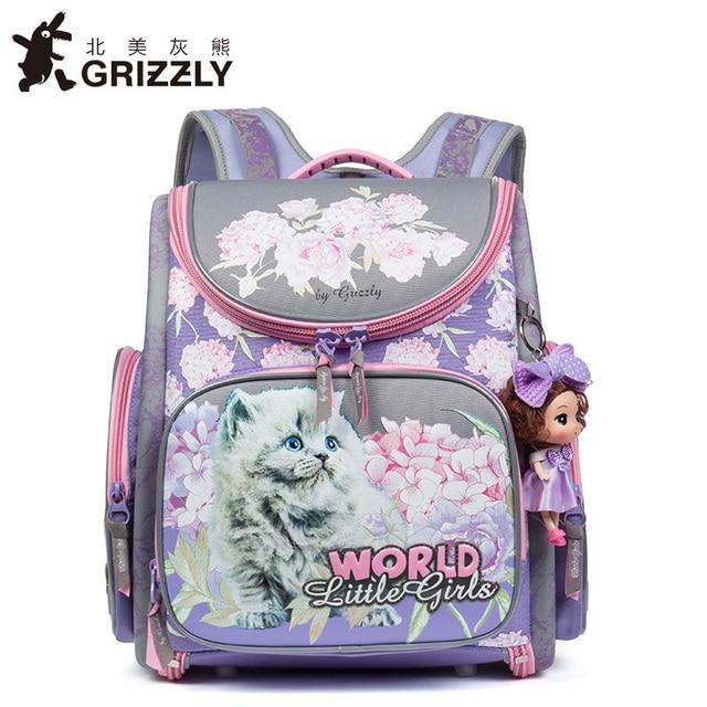ace5f2cf12d2 Гризли 2019 Новая Россия детские школьные сумки детские ортопедические  Водонепроницаемый Школьный рюкзак для начальной школы девочки