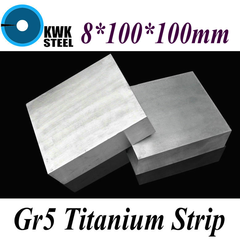 8*100*100mm Titanium Alloy Sheet UNS Gr5 TC4 BT6 TAP6400 Titanium Ti Plate Industry or DIY Material Free Shipping