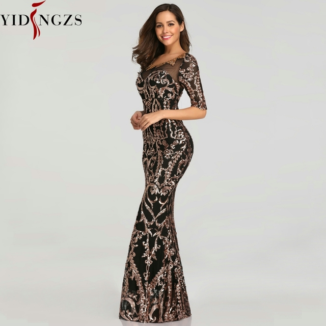YIDINGZS Sequins Evening Party Dress 2020 Half Sleeve Beads Formal Long Evening Dresses YD603 2