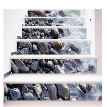6Pcs/Set 3D Stairway Stickers Stone Stair Stickers Creative Pattern Floor Wall Decor Decals Sticker Living Room Home Decoration