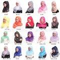 2016 casual hijaba brillante diseño de alta calidad de seda de las mujeres bufanda Musulmán cabezas de Turco carf/Indonesio/Istamic bufanda 10 unids mucho