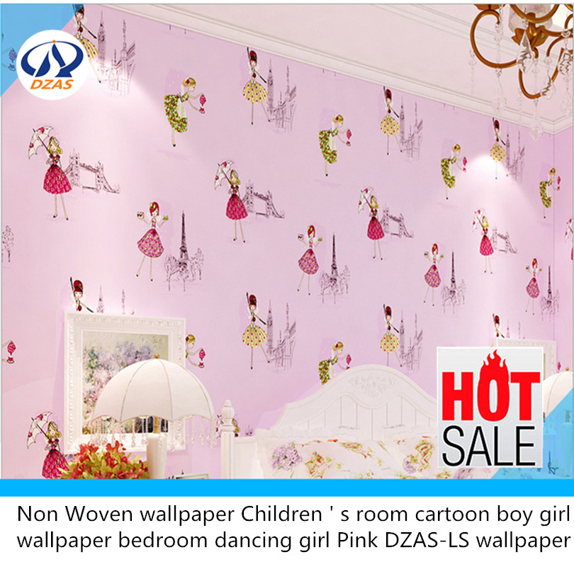 Non Woven wallpaper Children ' s room cartoon boy girl wallpaper bedroom dancing girl Pink DZAS-LS wallpaper beibehang environmental non woven boy girl warm cartoon children s room blue sky clouds balloon wallpaper