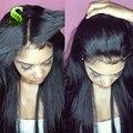 Бразильские Волосы Девственницы Полные Парики Шнурка Шелковистая Прямая Фронта Шнурка Человеческих волосы Парики Для Черные Женщины Glueless Полный Шнурок Человеческих Волос Парик
