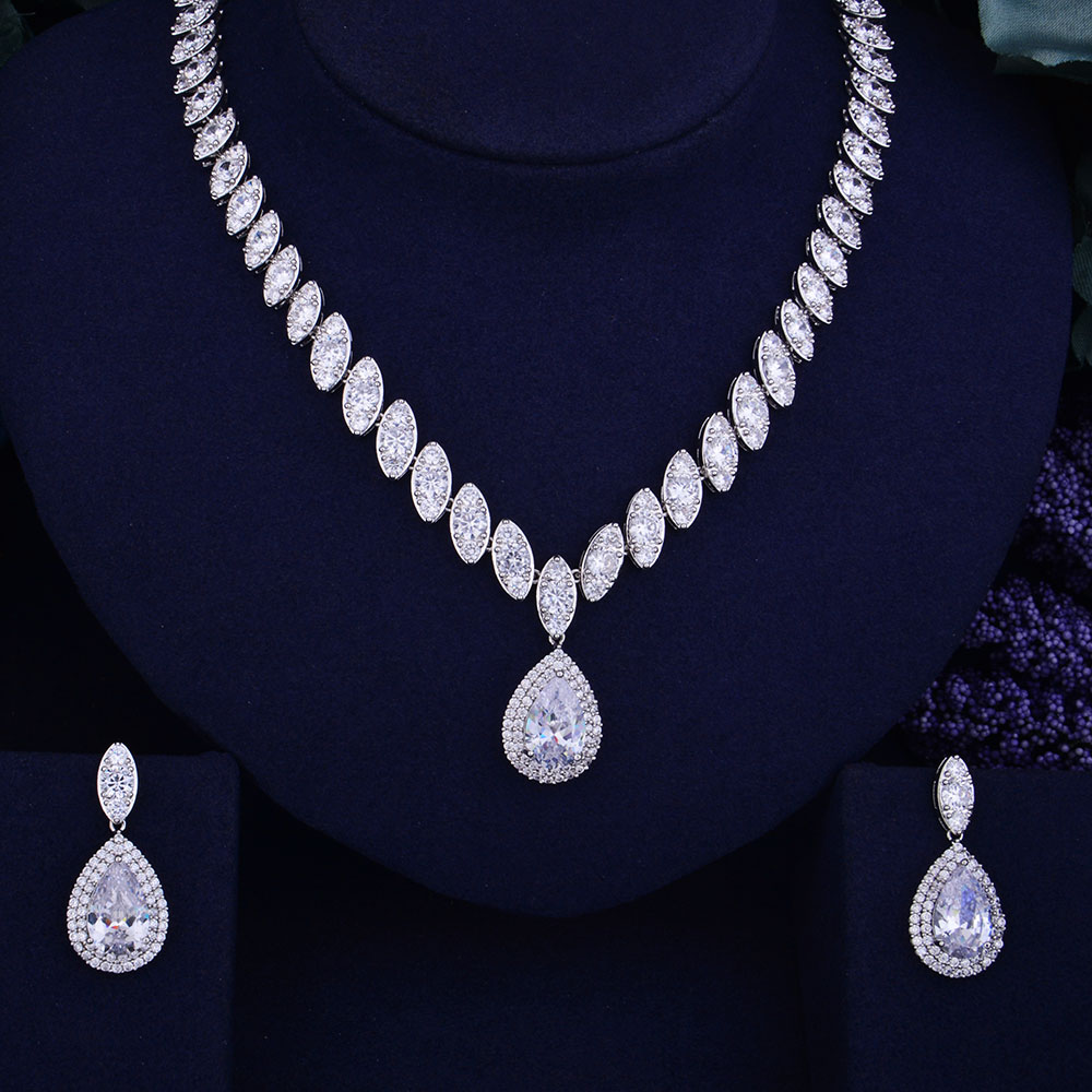 GODKI Luxury Waterdrop Women Nigerian Wedding Naija Bride Cubic Zirconia Necklace Dubai 2PCS Jewelry Set Jewellery