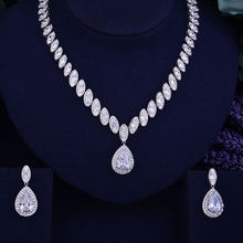 GODKI Luxury Waterdrop Women Nigerian Wedding Naija Bride Cubic Zirconia Necklace Dubai 2PCS Jewelry Set Jewellery Addiction(China)