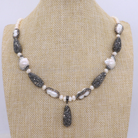 Natural Pearl Necklace Handcrafted With Drop Black Beads Pendant 22 Pearl Necklace Gems For Women 1686