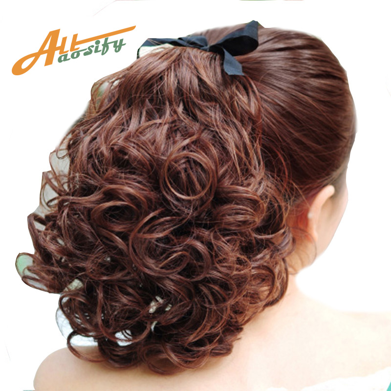 Short Clip In Drawstring Curly Ponytail Hair Pieces Heat Resistant Synthetic Fake Tail Horse Tress Tails All
