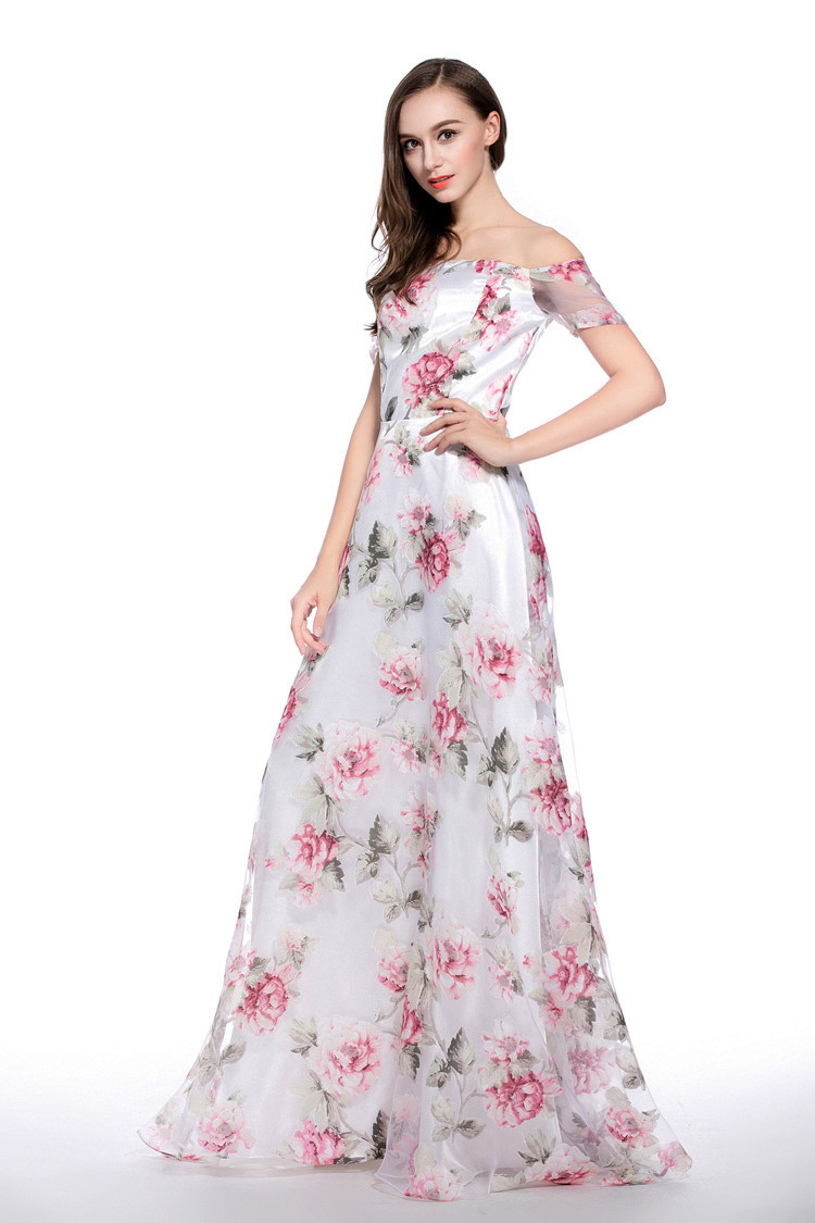 2019 Robes De L'épaule Imprimé Floral Noir Arrivée Parti Une vert Bal Organza Outre rose Ligne Mode Femmes Occasionnel Nouvelle Longue Sexy qY1Aw55x