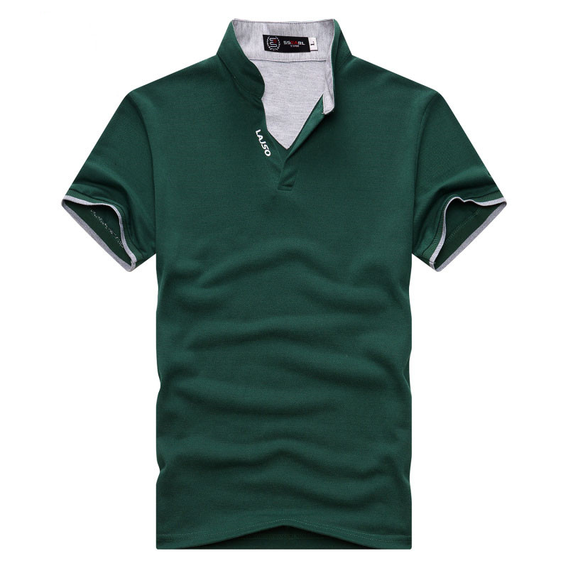 EU Size Solid Color Short Sleeve Men   Polo   Shirt