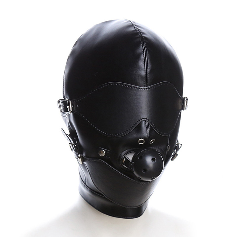 Fetish Hood Headgear With Mouth Ball Gag PU Leather BDSM Bondage Sex Mask Hood Toys Adult Slave Games Sex Product For Couples
