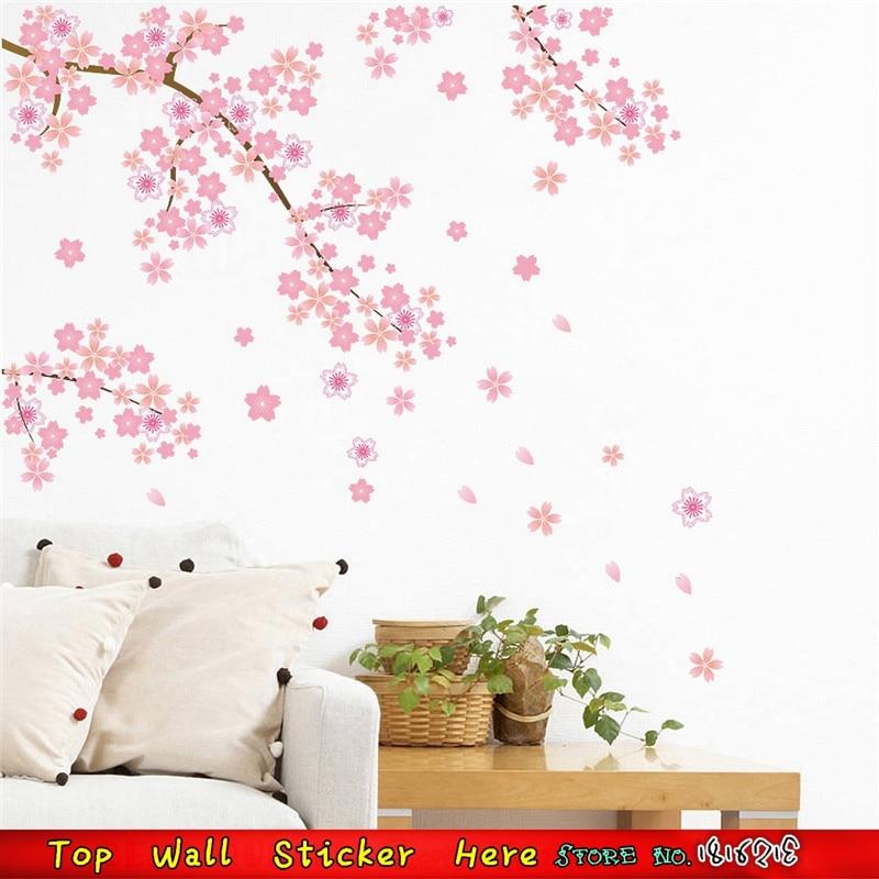 Rosa Fiori Di Ciliegio Sakura Albero Wall Sticker Murale Casa Art