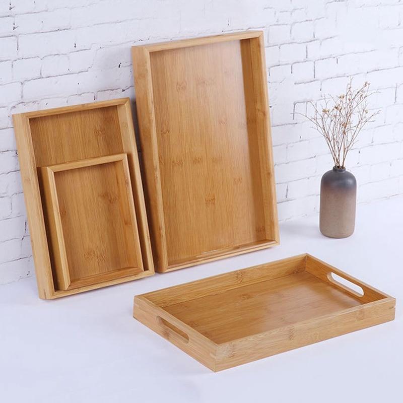органайзеры для кухни поднос Прямоугольный деревянный поднос для сервировки чайных столовых приборов поддон для хранения фруктов тарелка украшение еды бамбук-4
