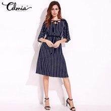 Women Summer Striped font b Dress b font Tunic font b Elegant b font Vintage Evening