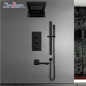 Image 1 - Senlesen 블랙 온도 조절 샤워 꼭지 세트 비 폭포 머리 벽 홀더 믹서 탭 목욕 4 방향 온도 조절 샤워 꼭지
