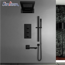 Senlesen Shower Faucets Set Matte Black Thermostatic Rain Waterfall Head Holder Mixer Tap Bath 4 way Thermostatic Shower Faucet