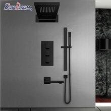 Senlesen czarny bateria prysznicowa z termostatem s zestaw deszczu wodospad głowica prysznicowa uchwyt ścienny wanna Mixer Tap 4 way bateria prysznicowa z termostatem