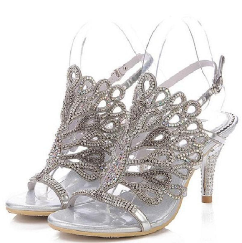 ФОТО 2016 women luxury handmade silver wedding bridesmaid sandals shoes strappy cut out hollow kitten heel dress shoes plus 35-43