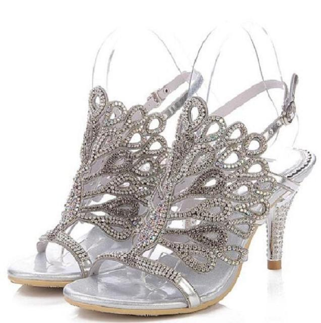 2016 women luxury handmade silver wedding bridesmaid sandals shoes strappy cut out hollow kitten heel dress shoes plus 35-43