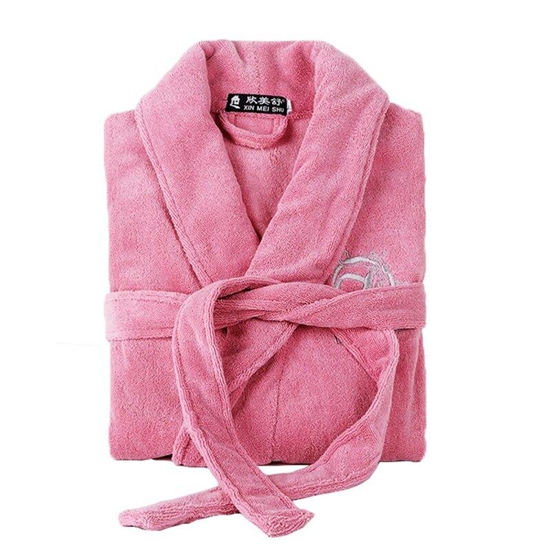 Haute qualité peignoir femmes hiver épais chaud coton Robe à manches longues solide loisirs confortable femme Homewear Kimono robe