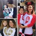 Chifuna 2017 primavera otoño juego family clothing outfit moda camisetas impresión de la letra del corazón t shirt para niños madre family look