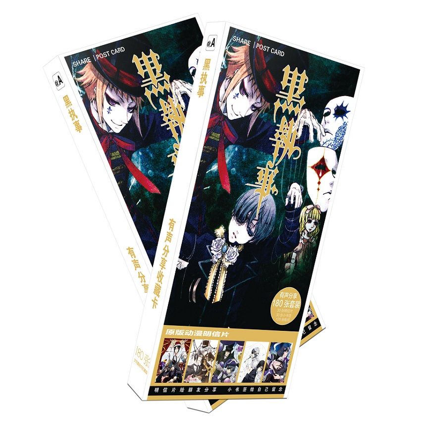 180pcs/Set Black Butler Cartoon Postcard/Greeting Card/Message Card/Christmas and New Year gifts цена