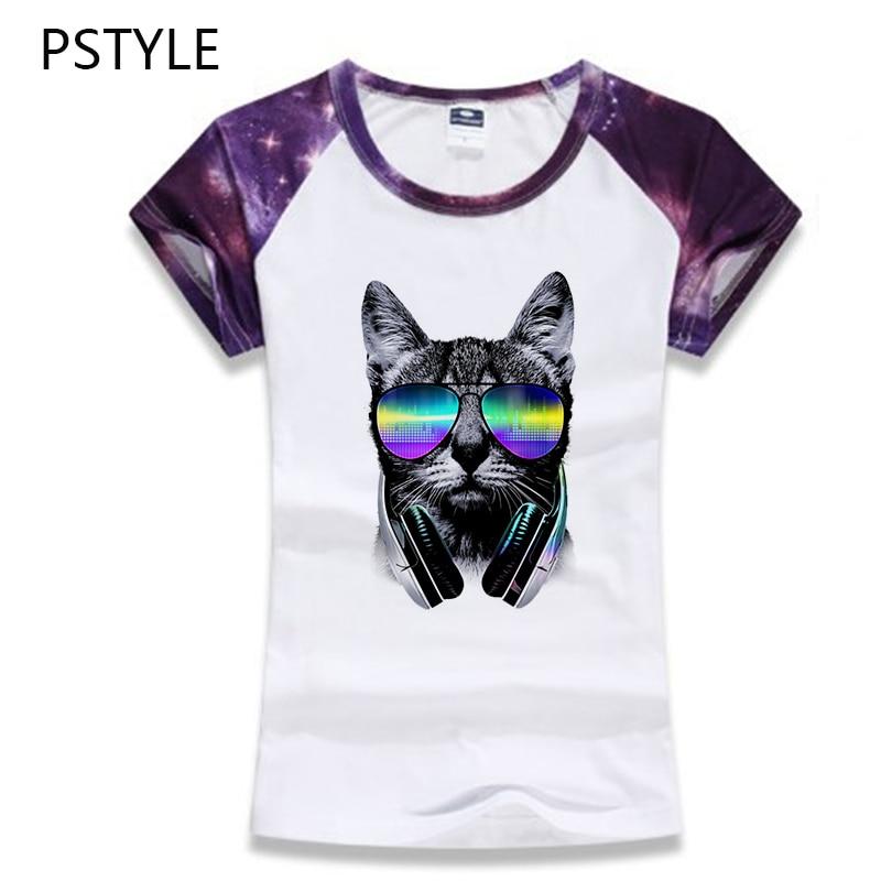 ea6ba05d 2018 Cartoon Cat Dog T Shirt Women Short Sleeves Harajuku Cool Animal Head Print  T-shirt O-neck Slim Fit Tee Tops Tshirt Pstyle