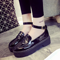 2016 Spring Fashion Vintage Women Platform Shoes Patent Leather Thick Bottom Buckle Strap Girl Flats For Student c252 15