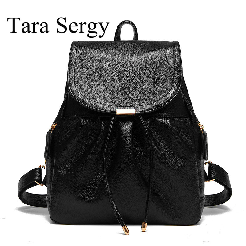 Tara Sergy Quality pu women backpack preppy style pu leather school backpack with drawstring fashion women backpack schoolbag