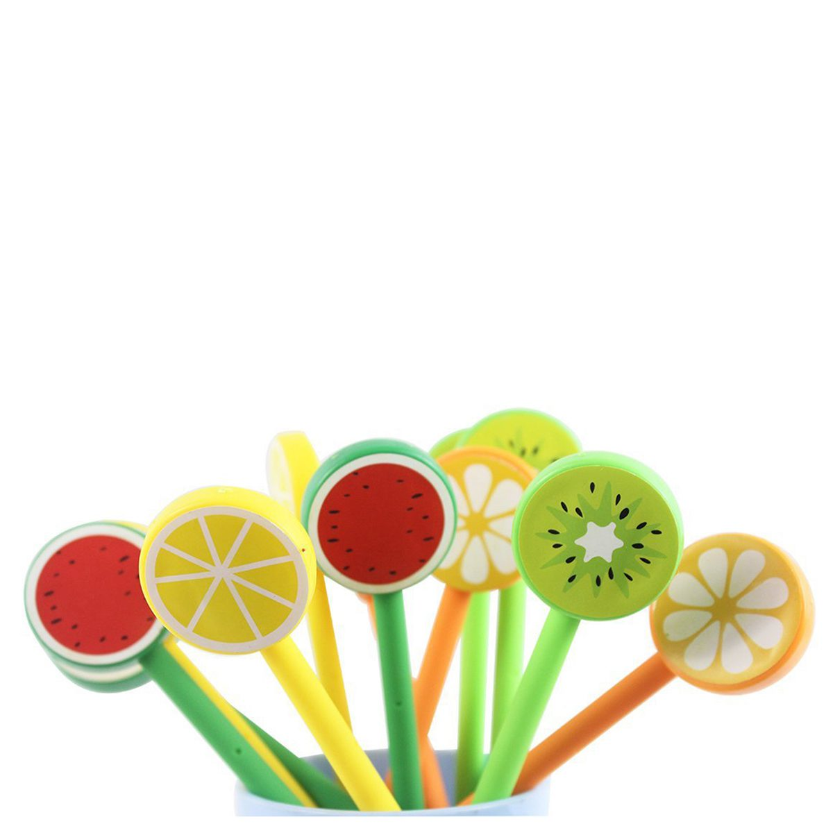 Affordable Fresh fruit creative cartoon Rollerball Gel Ink Refill Pen Set,A group of 12,Random Color 140 page note paper creative fruit design