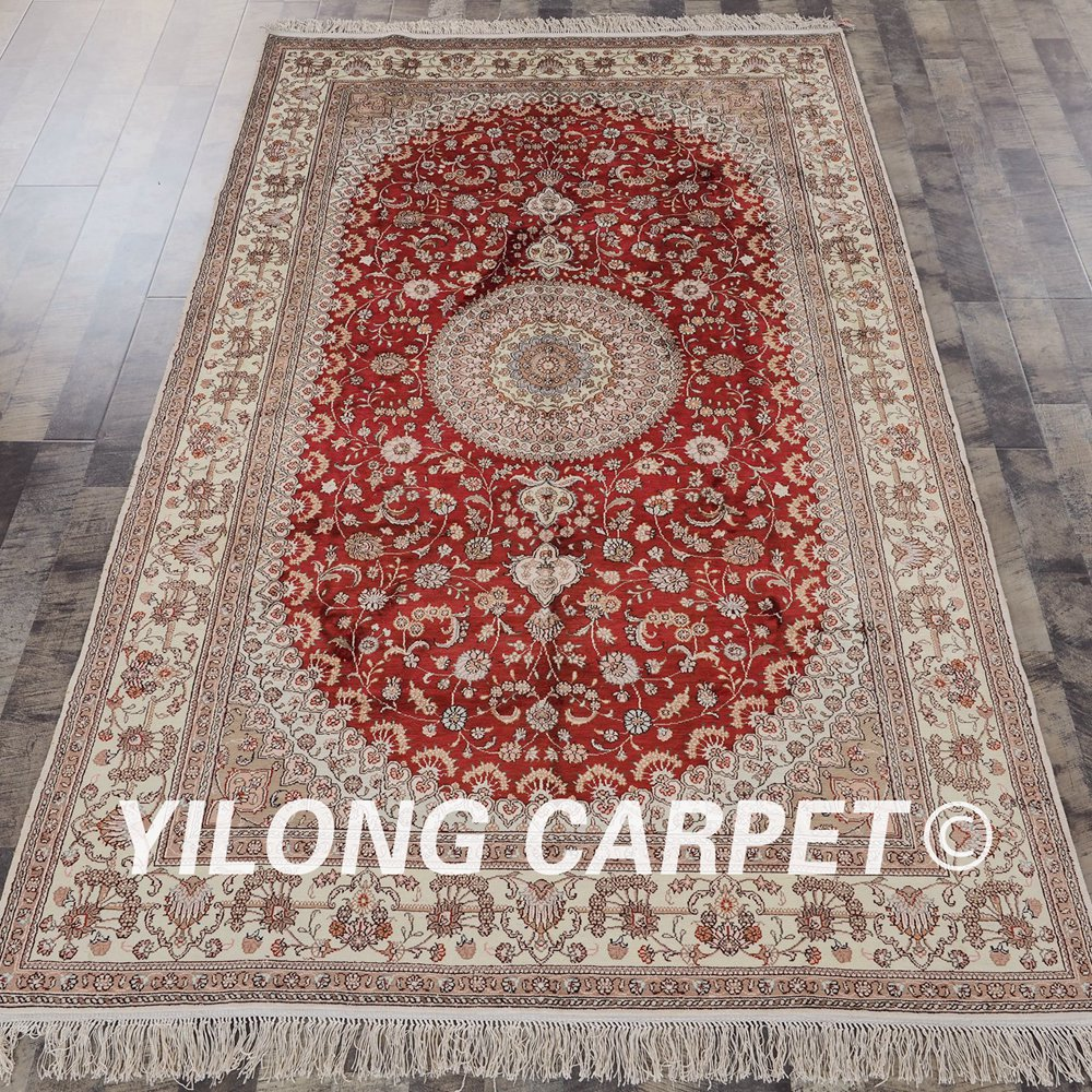 YILONG 5x8 Hand knotted traditional persian design red medalloin persian rugs on sale (YHW83B5x8)