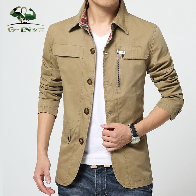 Brand Tops 2015 New Hot Men Jacket Cotton Outwear Men's Coat Casual Fit Style Designer Fashion Jacket Men 3 Colors M~4L