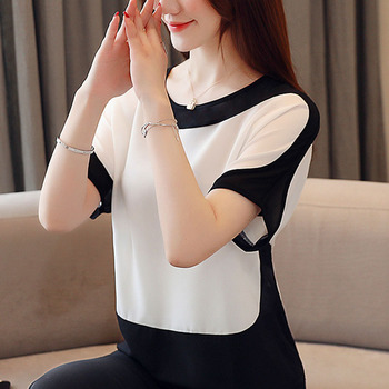 Womens tops and blouses fashion 2019 chiffon blouse plus size ladies tops shirts Solid Short O-Neck Batwing Sleeve 3397 50 3