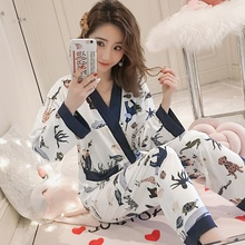 79695919da319 2019 Printemps Automne Kimono ensembles de Pyjama s pour les Femmes à  manches longues Pyjama Mignon
