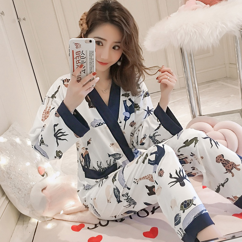 2019 Spring Autumn Kimono   Pajama     Sets   for Women Long Sleeve Pyjama Cute Print Sleepwear Homewear Pijama Mujer Loungewear Clothes