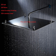 2015 new arrival 20 inch 50*50cm  304 stainless steel ultra thin water saving  shower head ,bathroom accessories nickel brushed