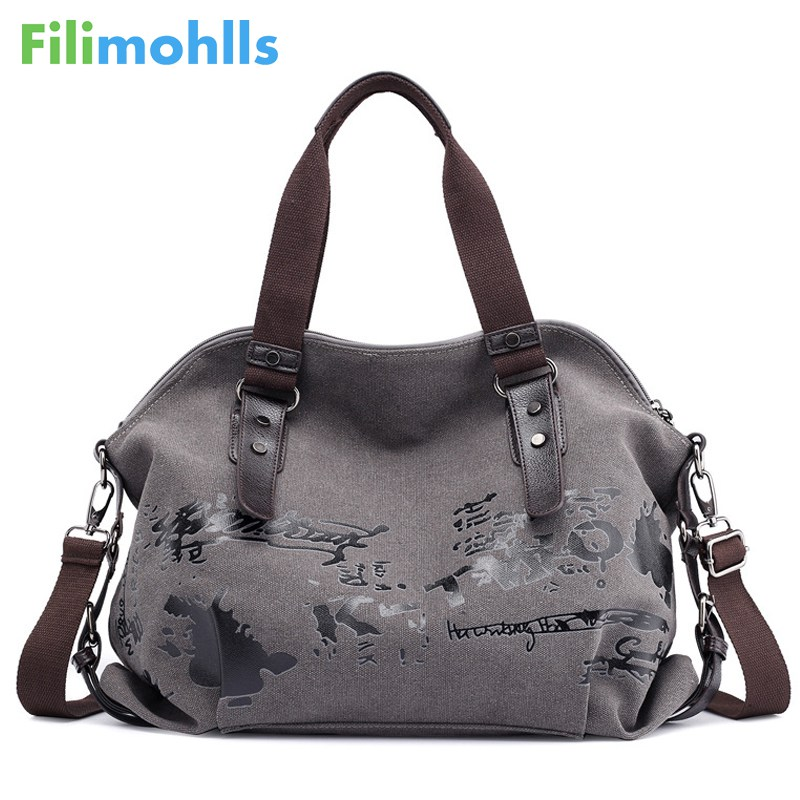 Canvas Handbags Large-Bag Ladies Totes Graffiti Vintage Female Famous Designer Fashion title=
