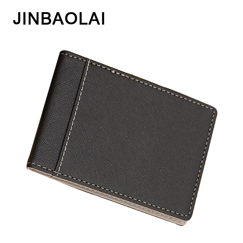 цена JINBAOLAI Densigner Men Wallets PU Leather Short Purses Male Wallet Thin Money Clips Solid Clutch Wallet For Men Purses 4 Color