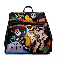 Women Leather Patchwork Embroidery Backpack Preppy Schoolbag Travel Bag Braccialini Brand Style Design Cartoon Taishan Monkey