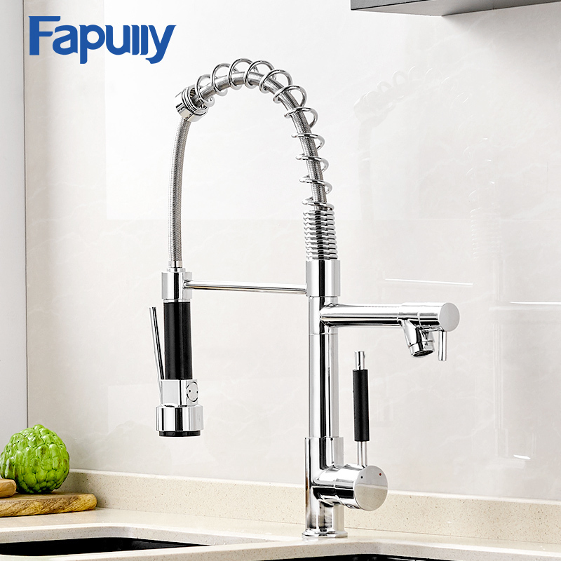 Fapully Chrome Finish Single Spout Kitchen Sink Faucet Deck Mount Spring Kitchen Mixer Tap Kitchen Hot and Cold Water tap цена 2017