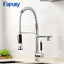 Fapully Spring Kitchen Chrome Finish Multifunction Single Spout Sink Faucet Deck Mount Tap Hot and Cold Water