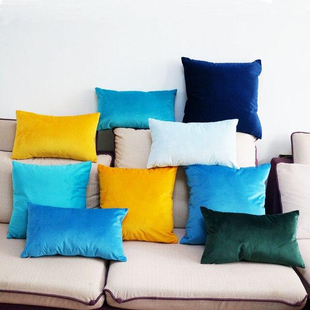 Di alta Qualità Morbido Velluto Verde Blu Giallo Pillow Case Cuscino Copertura d