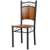 Ancheer 4 Pcs Set Dining Chair Charcoal Iron Finish Cafe Chair Seat Bistro Western Style
