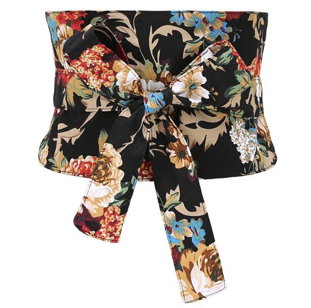 Women's Runway Fashion Vintage Flower Print Bow Cummerbunds Female Dress Coat Corsets Waistband Belts Decoration Wide Belt R1185