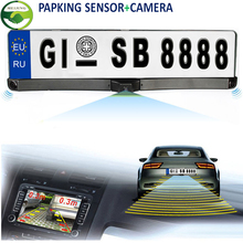 3 In 1 Car High Quality Russia European License Plate Frame Front Camera With Two Parking Sensors Reversing Radar