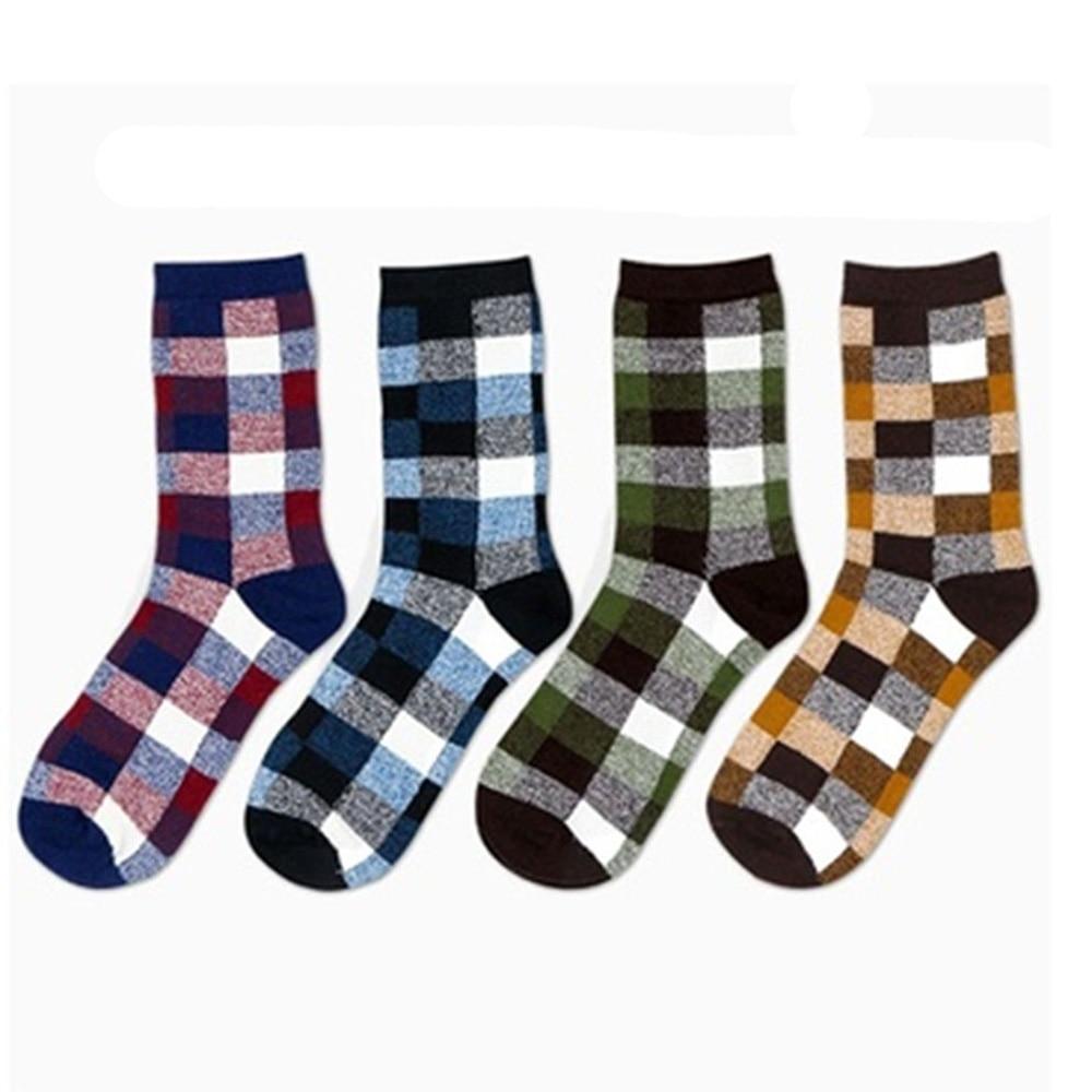 Men Socks Spring Autumn Plaid Red/blue/yellow/green Absorb Sweat Anti-friction Socks Fine Quality Underwear & Sleepwears