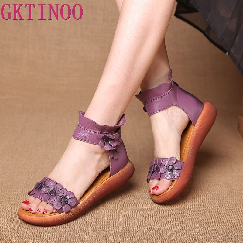 GKTINOO High Quality Fashion Flat Gladiator Sandals Women Genuine Leather High-Top Ankle Wrap With Flowers Vintage Sandals Shoes