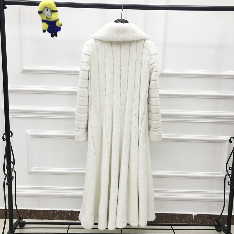 Mince Réel Manches Fansty Perte Importation Fourrure Longues Solide Femmes D'hiver Pure Y Col 2019 down De M Vison À Manteau Blanc S Turn Sq46a