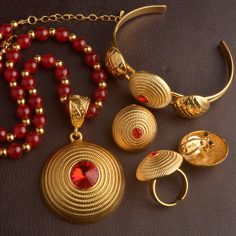 Anniyo Ethiopian Rosary Necklace Earrings Ring Bangle African Red Beads Chains Jewelry Eritrean Habesha Wedding Gift #093106 anniyo good quality habesha ethiopian gold color necklace earrings ring hair chain jewelry sets african wedding gifts 047611