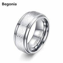 Begonia 8mm patrón de Radiación de Ancho diseño de Carburo de Tungsteno Anillo Para Hombre Anillos